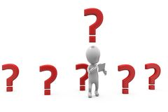 3d man many question mark concept Royalty Free Stock Images