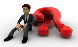 3d man with many question marks concept Stock Image