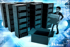 3d man with many server with files illustration Royalty Free Stock Photo