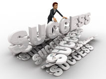 3d man with many success text font concept Stock Photography