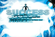 3d man with many success text font illustration Stock Images