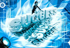 3d man with many success text font illustration Stock Image
