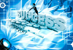 3d man with many success text font illustration Stock Photography