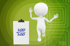 3d man 100 mark illustration Royalty Free Stock Photography