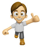 3D Man Mascot the best hand gesture. Work and Job Character Desi Stock Images
