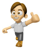 3D Man Mascot the best hand gesture. Work and Job Character Desi Royalty Free Stock Images