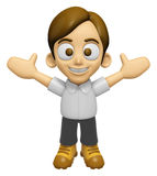 3D Man Mascot is cheering hands spread wide. Work and Job Charac Stock Photo