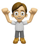 3D Man Mascot is cheering hands spread wide. Work and Job Charac Royalty Free Stock Photo