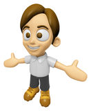 3D Man Mascot is cheering hands spread wide. Work and Job Charac Royalty Free Stock Photos