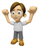 3D Man Mascot is cheering hands spread wide. Work and Job Charac Stock Images