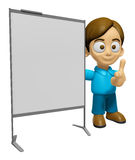 3D Man Mascot is concise explanation of a whiteboard. Work and J Stock Photo
