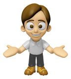 3D Man Mascot the direction of pointing with both hands. Work an Stock Photo