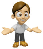 3D Man Mascot the direction of pointing with both hands. Work an Royalty Free Stock Photos