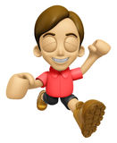 3D Man Mascot is fighting gestures. Work and Job Character Desig Royalty Free Stock Image