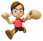 3D Man Mascot is fighting gestures. Work and Job Character Desig Stock Photos