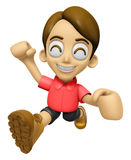 3D Man Mascot is fighting gestures. Work and Job Character Desig Stock Images