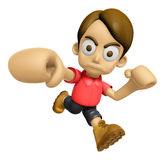 3D Man Mascot is fighting gestures. Work and Job Character Desig Royalty Free Stock Photo