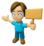 3D Man Mascot the hand is holding a picket. Work and Job Charact Stock Photo