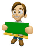 3D Man Mascot holding a big board with both Green chalkboard. Wo Royalty Free Stock Photo