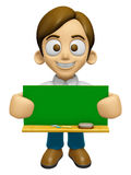 3D Man Mascot holding a big board with both Green chalkboard. Wo Stock Photography