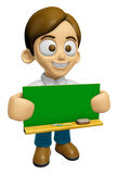 3D Man Mascot holding a big board with both Green chalkboard. Wo Royalty Free Stock Images