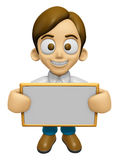 3D Man Mascot holding a big board with both hands. Work and Job Stock Photography