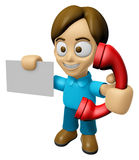 3D Man Mascot just calls me back when you have more time. Work a Royalty Free Stock Photos