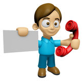 3D Man Mascot just calls me back when you have more time. Work a Royalty Free Stock Photography