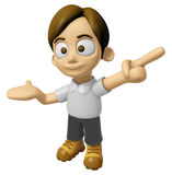3D Man Mascot is points a finger one direction. Work and Job Cha Stock Photo