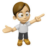 3D Man Mascot is points a finger one direction. Work and Job Cha Royalty Free Stock Image