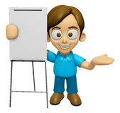 3D Man Mascot is presentation in front of the a briefing chart. Royalty Free Stock Photography