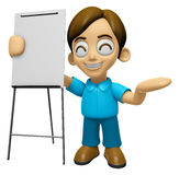 3D Man Mascot is presentation in front of the a briefing chart. Stock Photography
