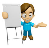 3D Man Mascot is presentation in front of the a briefing chart. Stock Image