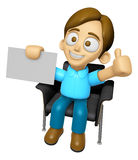 3D Man Mascot is sitting on a chair assume the gesture of the be Royalty Free Stock Photos