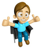 3D Man Mascot is sitting on a chair assume the gesture of the be Stock Image