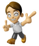 3D Man Mascot is taking gestures of Double pistols. Work and Job Stock Photography