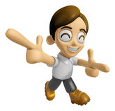 3D Man Mascot is taking gestures of Double pistols. Work and Job Stock Image