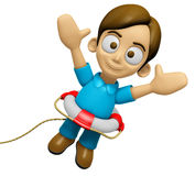 3D Man Mascot unclasp both hands jumping. Work and Job Character Royalty Free Stock Image