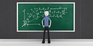 3d man with mathematics equations on a blackboard Royalty Free Stock Images
