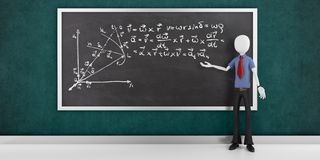 3d man with mathematics equations on a blackboard Stock Photos