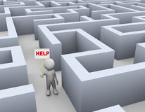 3d man in maze calling for help. 3d illustration of man holding word help banner in complicated puzzle maze. 3d rendering of human people character stock illustration