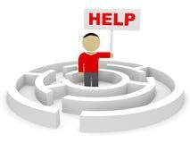 3D man into the maze. Help. 3D illustration stock illustration