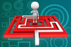 3d man maze solution illustration Stock Image