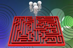 3d man maze solution illustration Stock Images