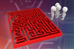 3d man maze solution illustration Royalty Free Stock Photos