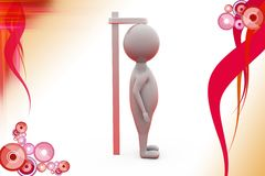 3d man measure height illustration Royalty Free Stock Images