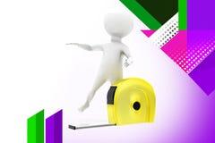3d man measure tape illustration Stock Image