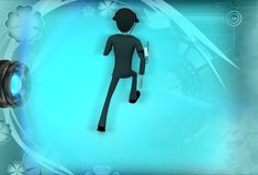 3d man with measurement device illustration Stock Photography