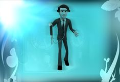 3d man with measurement device illustration Stock Photo