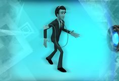 3d man with measurement device illustration Royalty Free Stock Image